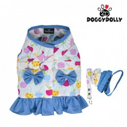 Doggy Dolly Body Harness - Yếm cherry xanh dương size L