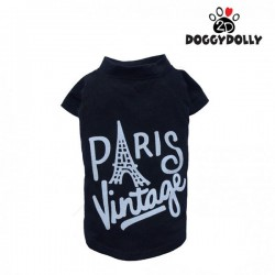 Doggy Dolly - Áo thun Paris Vintage đen size XS