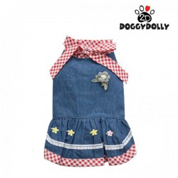 Doggy Dolly - Đầm jean caro đỏ size M
