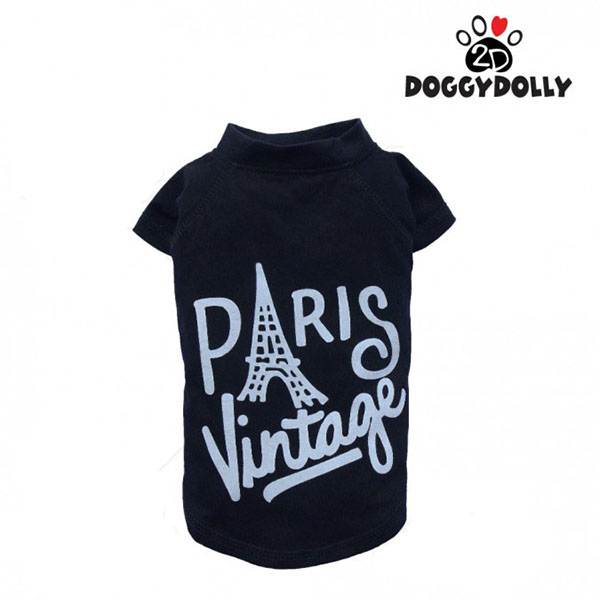 Doggy Dolly - Áo thun Paris Vintage đen size S