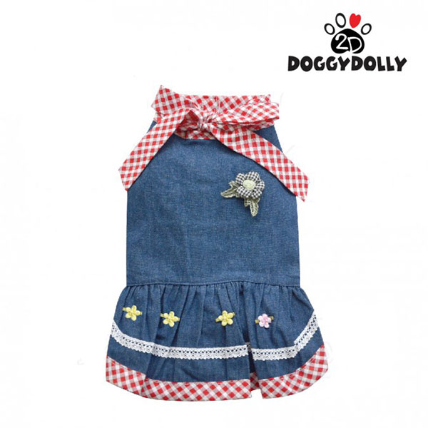Doggy Dolly - Đầm jean caro đỏ size XL